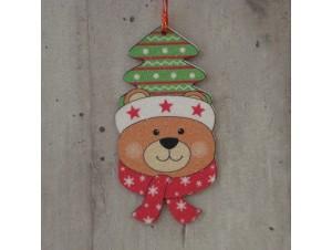 Χριστουγεννιάτικο Ξύλινο Στολίδι Αρκουδάκι 12 εκ