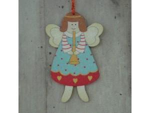 Χριστουγεννιάτικο στολίδι διπλής όψης Άγγελος 12 εκ
