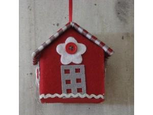 Χριστουγεννιάτικο Υφασμάτινο Στολίδι Σπιτάκι 8 εκ.