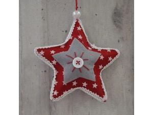 Χριστουγεννιάτικο Υφασμάτινο Στολίδι Αστέρι 8 εκ.