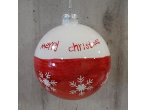 Χριστουγεννιάτικη γυάλινη μπάλα με σχέδια 10εκ