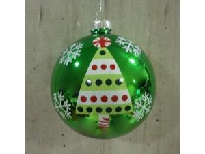 Χριστουγεννιάτικη γυάλινη μπάλα Πράσινη 8 εκ.
