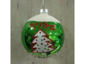 Χριστουγεννιάτικη γυάλινη μπάλα Πράσινη 8 εκ. COPY 1