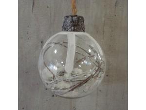 Χριστουγεννιάτικη γυάλινη μπάλα με γέμισμα 10εκ.