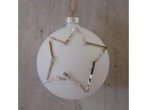 Άσπρη Χριστουγεννιάτικη γυάλινη μπάλα