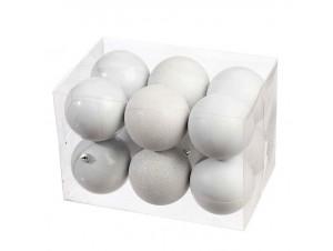 Άσπρη Χριστουγεννιάτικη Μπάλα 8 εκ. SET 12 τεμάχια
