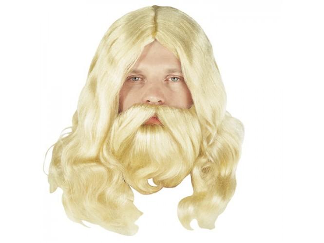 Αποκριάτικη περούκα με μούσι και μουστάκι
