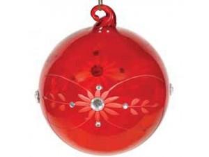 Κόκκινη Χριστουγεννιάτικη Γυάλινη Μπάλα με σχέδιο λουλούδι