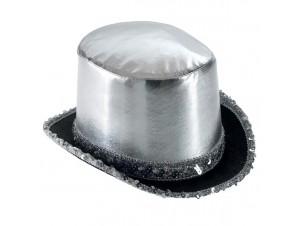 Αποκριάτικο καπέλο Ημίψηλο σατέν, Ασημί