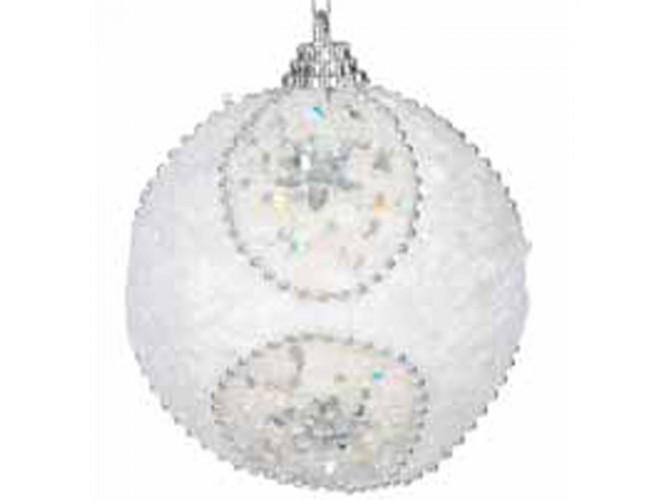 Άσπρη Χριστουγεννιάτικη Άθραυστη Μπάλα