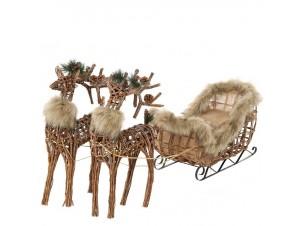 Χριστουγεννιάτικο Έλκηθρο με ελάφια 76x36x50 εκ