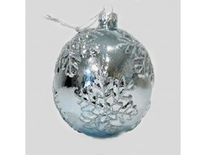Χριστουγεννιάτικη Μπάλα με Νιφάδες, Γυάλινη 8 εκ.