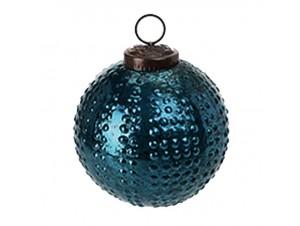 Χριστουγεννιάτικη Μπάλα μπλε Γυάλινη 10 εκ