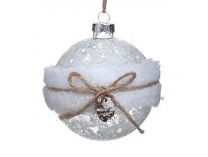 Χριστουγεννιάτικη Μπάλα Παγωμένη Γυάλινη 8 εκ.