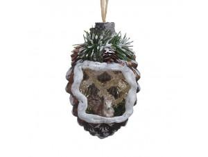 Χριστουγεννιάτικη Μπάλα κουκουνάρι Γυάλινη 11,5 εκ