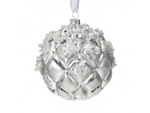 Χριστουγεννιάτικη Μπάλα Ασημί Γυάλινη 10 εκ