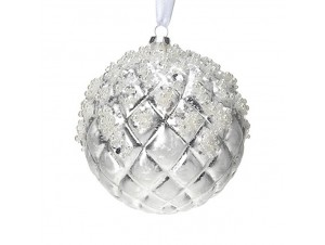 Χριστουγεννιάτικη μπάλα γυάλινη ασημί 12 εκ.