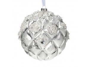Χριστουγεννιάτικη μπάλα γυάλινη ασημί 15 εκ.