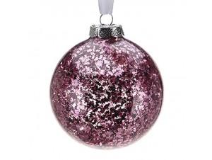 Φούξια  γυάλινη Χριστουγεννιάτικη Μπάλα 8 εκ.