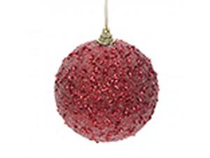 Χριστουγεννιάτικη Μπάλα Κόκκινη πλαστική 8 εκ