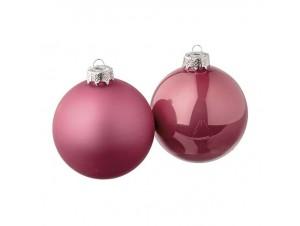 Σετ 12 τμ. Χριστουγεννιάτικη Μπάλα Φουξια Γυάλινη 8 εκ
