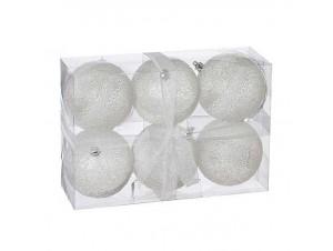 SET 6 τεμ. Χριστουγεννιάτικες άσπρες μπάλες 8 εκ