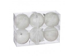 SET 4 τεμ. Χριστουγεννιάτικες άσπρες μπάλες 10 εκ