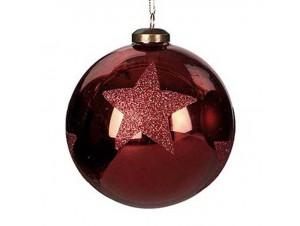 Χριστουγεννιάτικη Μπάλα μπορντό Γυάλινη 10 εκ