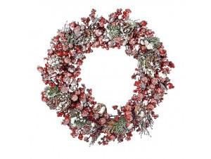 Χριστουγεννιάτικο στεφάνι με Berries παγωμένα 45 εκ.