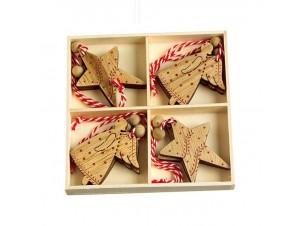 Σετ 8 τμχ. Χριστουγεννιάτικο στολίδι αστέρι - αγγελάκι 6 εκ.