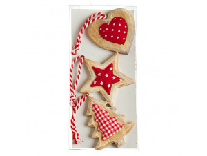 Σετ 3 τμχ Χριστουγεννιάτικο στολίδι καρδιά, αστέρι, δέντρο