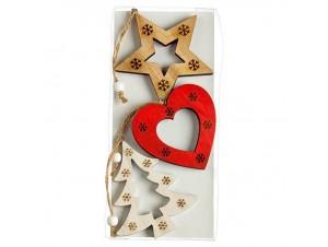 Σετ 3 τμχ Χριστουγεννιάτικο στολίδι καρδιά, αστέρι, δέντρο 9 εκ.