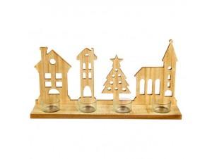 Χριστουγεννιάτικο ξύλινο διακοσμητικό κηροπήγιο 20 εκ.