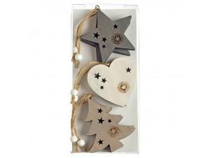 Σετ 6 τμχ. Χριστουγεννιάτικο στολίδι καρδιά, αστέρι, δέντρο 8 εκ.