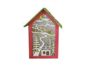 Χριστουγεννιάτικο ξύλινο σπιτάκι φωτιζόμενο 23 εκ.