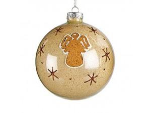 Μπεζ Χριστουγεννιάτικη Μπάλα Γυάλινη 10 εκ