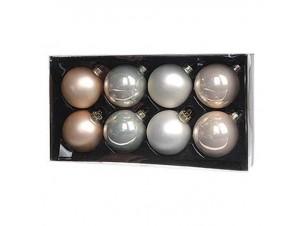 Σετ 8 τμχ. Χριστουγεννιάτικες Μπάλες Γυάλινες 6,5 εκ