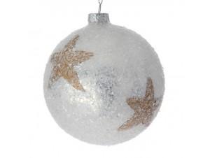 Χριστουγεννιάτικη Μπάλα Άσπρη Γυάλινη 10 εκ