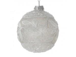 Χριστουγεννιάτικη Μπάλα Άσπρη Γυάλινη 8 εκ