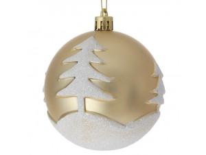 Σετ 6 τμχ. Χριστουγεννιάτικη Μπάλα Χρυσή 8 εκ