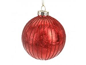 Χριστουγεννιάτικη Μπάλα Κόκκινη Γυάλινη 10 εκ