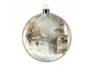 Χριστουγεννιάτικη Μπάλα με παράσταση Γυάλινη 10 εκ