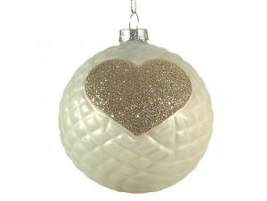 Χριστουγεννιάτικη Μπάλα με καρδιά Γυάλινη 8 εκ