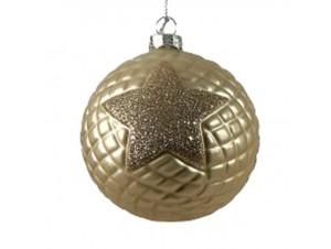 Χριστουγεννιάτικη Μπάλα με αστέρι Γυάλινη 8 εκ