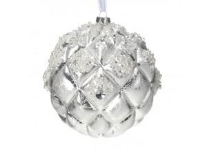 Χριστουγεννιάτικη Μπάλα Ανάγλυφη Γυάλινη 15 εκ
