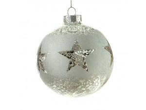 Χριστουγεννιάτικη Μπάλα ασημί Γυάλινη 8 εκ