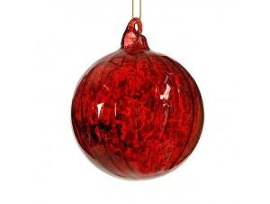 Χριστουγεννιάτικη Μπάλα Κόκκινη Γυάλινη 8 εκ
