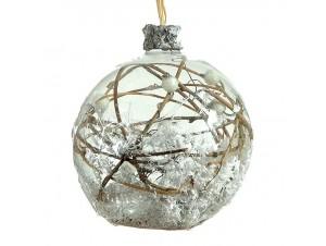 Χριστουγεννιάτικη Μπάλα διάφανη Γυάλινη 12 εκ
