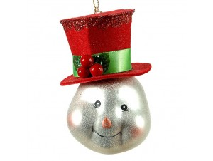 Χριστουγεννιάτικη Μπάλα Χιονάνθρωπος Γυάλινη 13 εκ