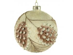 Χριστουγεννιάτικη Μπάλα ανάγλυφη Γυάλινη 13 εκ